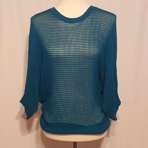 Takeout Teal Open Work Knit Top